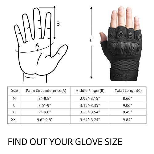 FREETOO Airsoft Glove 6 FREETOO Tactical Gloves for Men Military Airsoft Gloves for Climbing Hunting Hiking Cycling Shooting Rubber Outdoor Touchscreen Gloves (Black Fingerless)