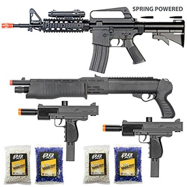 BBTac Airsoft Rifle 1 BBTac Airsoft Gun Package - The Operator - Collection of 4 Airsoft Guns - Powerful Spring Rifle, Shotgun, Two SMG, 4000 BB Pellets, Great for Starter Pack Game Play