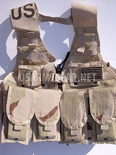 Specialty Defense Systems / Michael Bianco Airsoft Tactical Vest 1 New Made in USA Army Military MOLLE II Camouflage Desert Tan Airsoft MOLLE II Fighting Loaded Carrier Vest FLC LBV with 4 Double Pouch and 2 K-Bar Adapter Issued by the U.S. Government GI