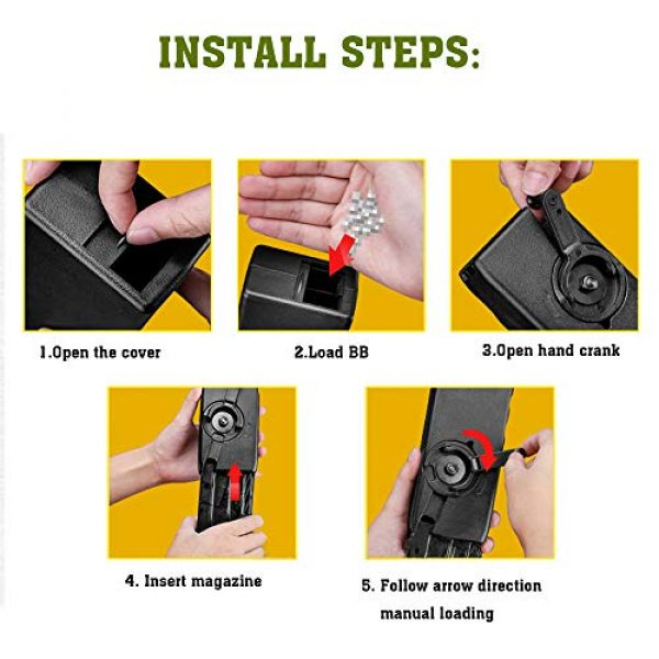 ActionUnion Airsoft Tool 6 ActionUnion Airsoft Tactical Speed Loader for Hand Crank Magazine Quick Loader 1000 Rounds