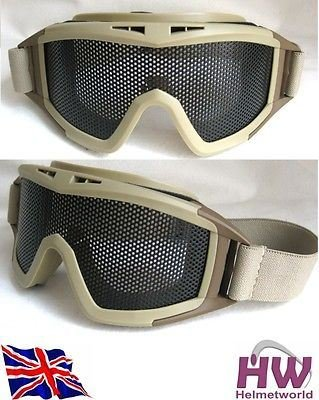 TOMTAC Airsoft Goggle 2 TOMTAC Airsoft Metal Large MESH Goggles Paintball Sand TAN DE Fast @ Helmet World