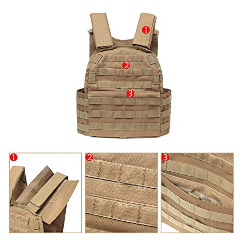 DMAIP  4 DMAIP Hunting Molle Tactical Vest Combat Security Training Tool Pouch Modoular Protective Durable Waistcoat for Outdoor Paintball CS Game Airsoft Climbing Hiking