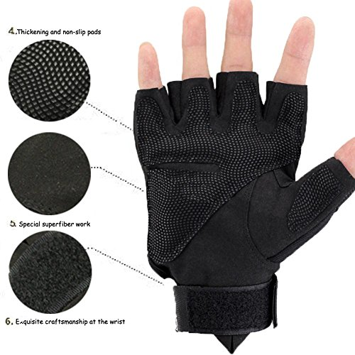 K-mover Airsoft Glove 6 K-mover Outdoors Camping Half Finger Gloves Tactical Fingerless Tactical Gloves Durable Hard Knuckle Cycling Motorcycle Gloves for Shooting Hunting Motorcycling Climbing