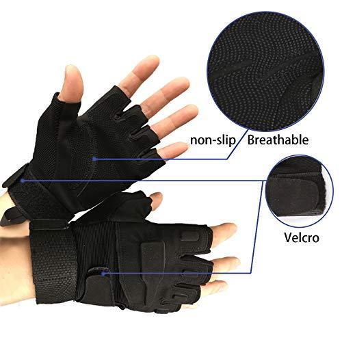 Military Ba Airsoft Glove 4 Military Ba Men's Black Special Ops 1/2 Finger Light Assault Gloves Tactical Fingerless Half Finger Gloves-M Black