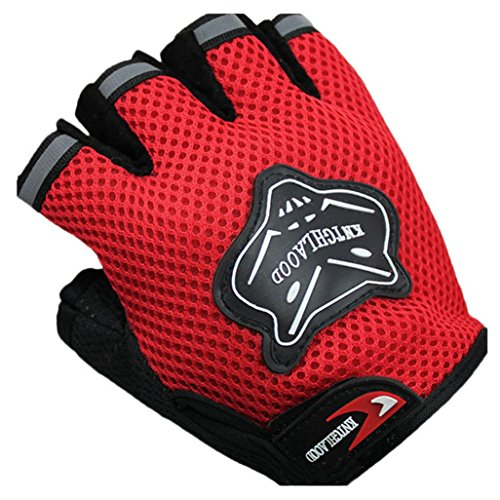 Goodtrade8 Airsoft Glove 2 GOTD Military Half-finger Airsoft Hunting Bike Riding Driving Outdoor Sports Cyclsing Fingerless Gloves for Women Men Kids Girls Boys Teens (Red)