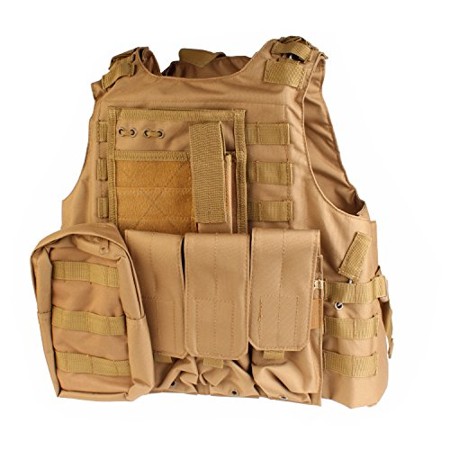 PMLAND  1 PMLAND Tactical Molle Airsoft Vest Paintball Combat Soft Vest Tan