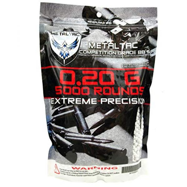 MetalTac Airsoft BB 1 MetalTac Airsoft BBS 5000 Rounds BB 0.2g Polished Perfect Grade Top Competition