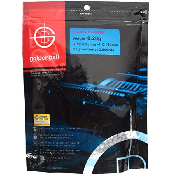 GoldenBall Airsoft BB 1 Airsoft .28g BBs 2500 6mm White Golden Ball GB5028W bag
