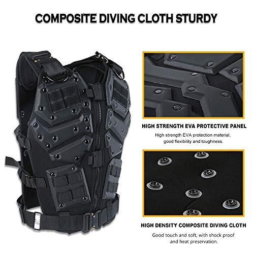 ActionUnion  4 ActionUnion Airsoft Tactical Vest Military Costume Molle Chest Protectors Gilet Paintball Vest CS Field Outdoor Modular Combat Training Adults Men Special Forces Adjustable EVA