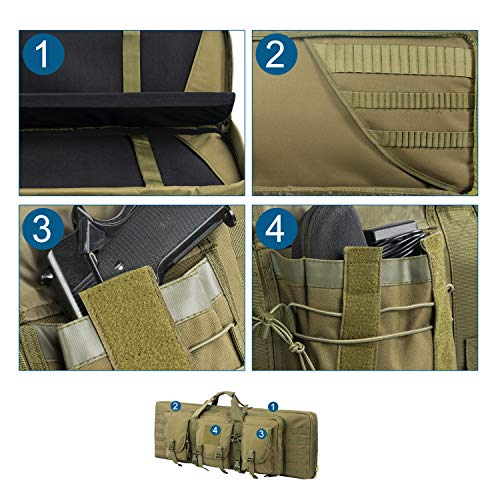 Fox Tactical Airsoft Gun Case 3 Fox Tactical 38 42 Inch Double Long Rifle Gun Case Bag Outdoor Tactical Carbine Cases Water Dust Resistant Fireproof for Hunting Shooting (O.D.Green