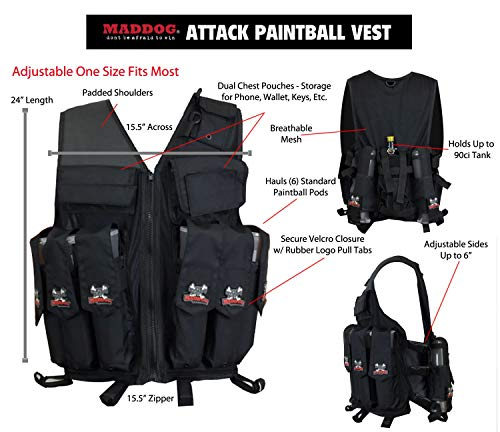Maddog Airsoft Tactical Vest 3 Maddog Tactical Attack Vest w/Pods & Standard Remote Coil Paintball Package