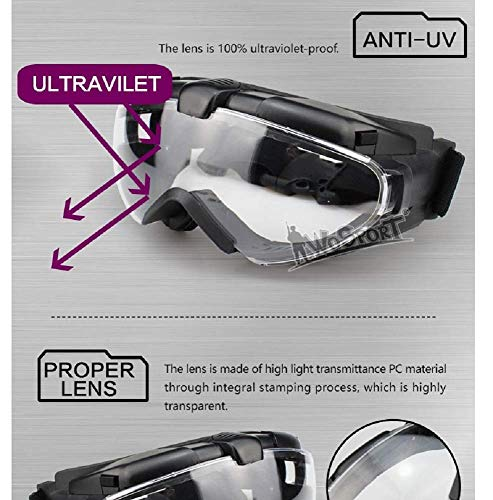 Tactical Area Airsoft Goggle 3 Tactical Airsoft Paintball Anti-Fog Goggles for Helmet Riding Cycling Resistance UV Protection Glasses PC Lens Glasses for Outdoor Hunting