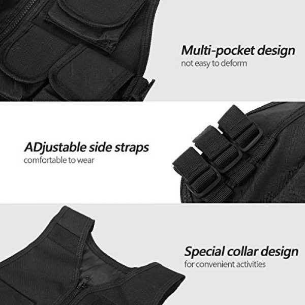 VGEBY Airsoft Tactical Vest 2 Tactical Vest, Adjustable Breathable Lightweight Combat Training Vest Outdoor Hunting, Fishing, Army Fans, CS War Game, Survival Game, Combat Training