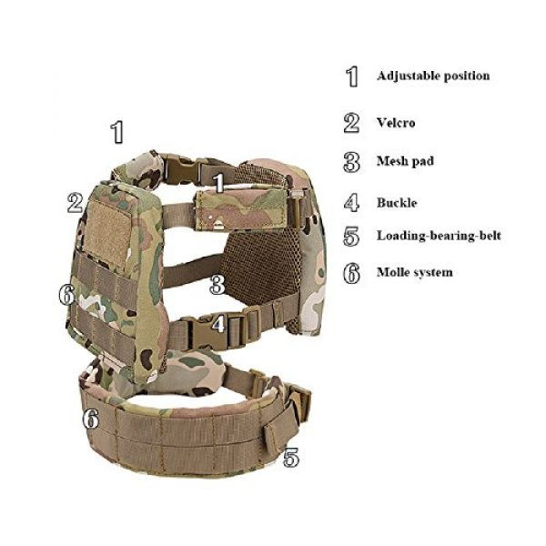 YASHALY Airsoft Tactical Vest 4 YASHALY Chest Rig for Kids, Mini Tactical Vest with Patrol Loading Bearing Belt Assault Molle Combat Children WST Military Protective Gear for WG Game Party