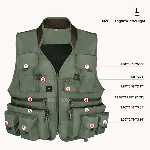 Anglerbasics  6 Anglerbasics Army Green Multifunction Airsoft Tactical Vest Quick Dry Multi Pockets Mesh Breathable Active Military wear Jacket- Fits for All Outdoor Sports