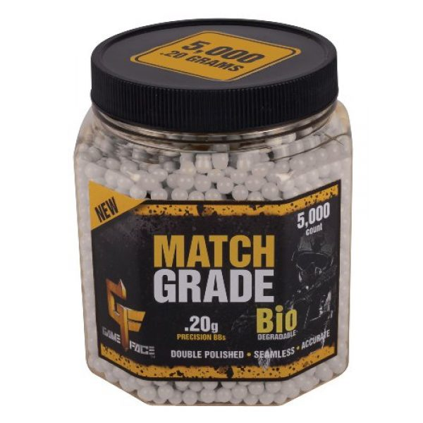 Game Face Airsoft BB 1 Game Face 20GBW5J 5000 Count Match Grade White Airsoft BBS, 0.20gm