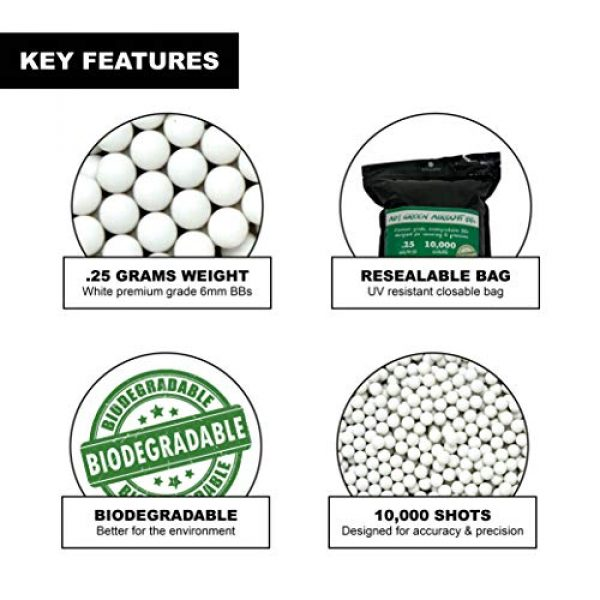 Aim Green Airsoft BB 2 Aim Green: Biodegradable Airsoft BBS .25g - Pellets - 6mm 10,000 Rounds - Smooth Finish BBS
