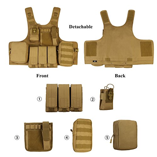 ArcEnCiel Airsoft Tactical Vest 7 ArcEnCiel Tactical Molle Vest, Coyote Brown
