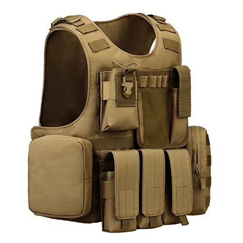 ArcEnCiel Airsoft Tactical Vest 2 ArcEnCiel Tactical Molle Vest, Coyote Brown
