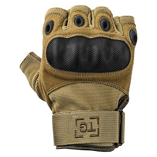 TG Airsoft Glove 2 TG Hellfox Fingerless Tactical Gloves for Men Hard Knuckle for Military Police Combat Motorcycle Outdoors Camping Cycling Paintball