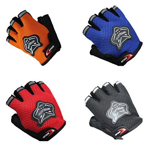 Goodtrade8 Airsoft Glove 3 GOTD Military Half-finger Airsoft Hunting Bike Riding Driving Outdoor Sports Cyclsing Fingerless Gloves for Women Men Kids Girls Boys Teens (Red)