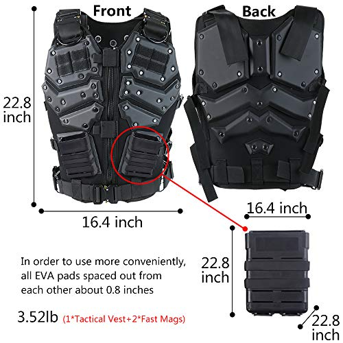 iactionunion Airsoft Tactical Vest 2 Upgrade Tactical Vest for Men with 2pcs 5.56 Fast Mag Pouch Adjustable Airsoft Paintball Vest Combat Vest Tactical Molle Vest CS Shooting Wargame Outdoor Training