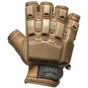 Valken Airsoft Glove 1 Valken Paintball V-Tac Half Finger Plastic Backed Gloves - Tan - XL/2XL