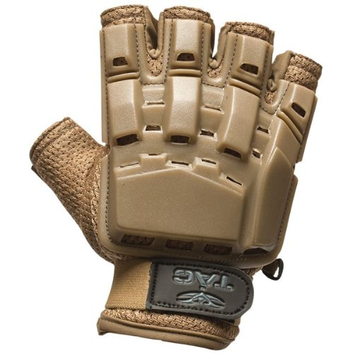 Valken Airsoft Glove 1 Valken Paintball V-Tac Half Finger Plastic Backed Gloves - Tan - XL/2XL