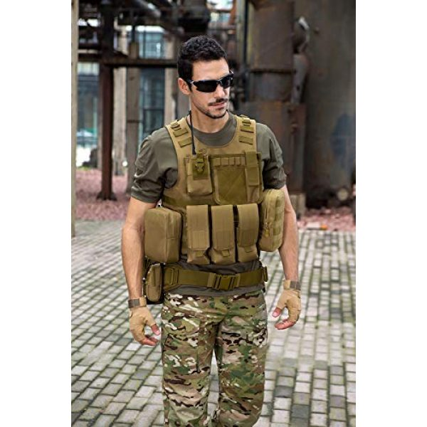 outdoor plus Airsoft Tactical Vest 7 Tactical Molle Vest Light-Weight Breathable Black Airsoft Vest with Adjustable Pouches for Adult and Youth