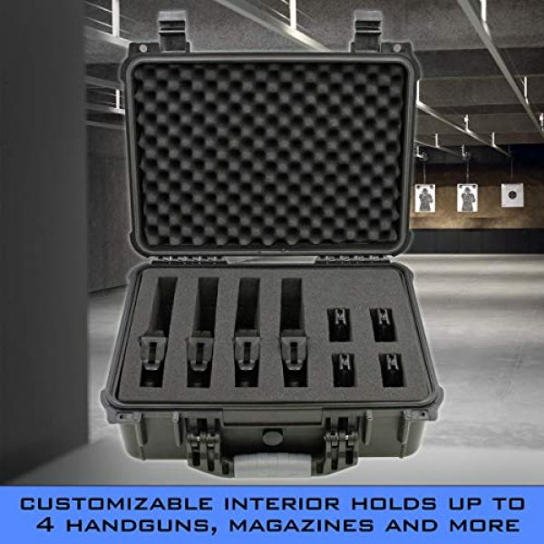 """CASEMATIX Airsoft Gun Case 3 CASEMATIX 16"""" 4 Pistol Multiple Pistol Case - Waterproof & Shockproof Hard Gun Cases for Pistols, Magazines and Accessories - Multi Gun Case for Pistols with Two Layers of 2"""" Thick Customizable Foam"""