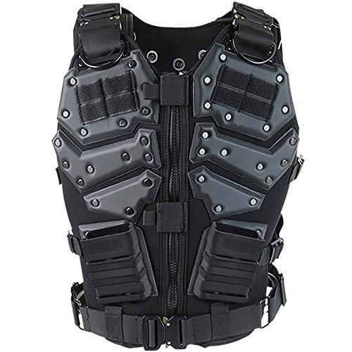 iactionunion Airsoft Tactical Vest 1 Upgrade Tactical Vest for Men with 2pcs 5.56 Fast Mag Pouch Adjustable Airsoft Paintball Vest Combat Vest Tactical Molle Vest CS Shooting Wargame Outdoor Training