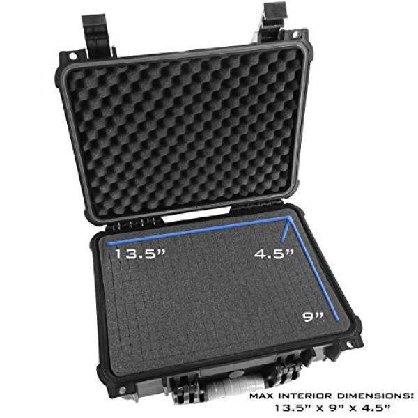 """CASEMATIX Airsoft Gun Case 5 CASEMATIX 16"""" 4 Pistol Multiple Pistol Case - Waterproof & Shockproof Hard Gun Cases for Pistols, Magazines and Accessories - Multi Gun Case for Pistols with Two Layers of 2"""" Thick Customizable Foam"""