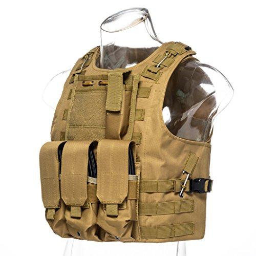 Invenko Airsoft Tactical Vest 6 Invenko Tactical Molle Airsoft Vest Paintball Combat Soft Vest Tan