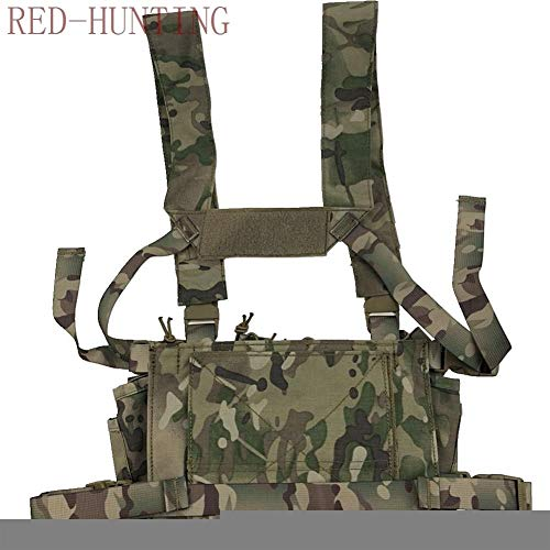 Vioaplem Airsoft Tactical Vest 4 Vioaplem Multicam Tactical Molle Vest Ammo Chest Rig Removable Hunting Airsoft Paintball Gear Vest with AK 47/74 Magazine Pouch