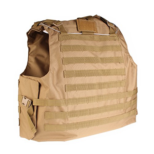 PMLAND  2 PMLAND Tactical Molle Airsoft Vest Paintball Combat Soft Vest Tan