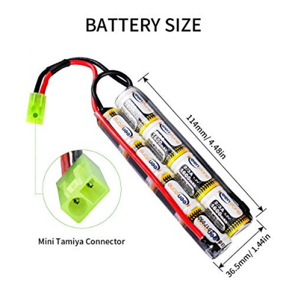 Keenstone 9.6V 1600mAh Butterfly Nunchuck Stick Mini Battery Pack with Mini Tamiya Connector for Airsoft Guns ICS CA TM SRC JG G36 G&M733 etc