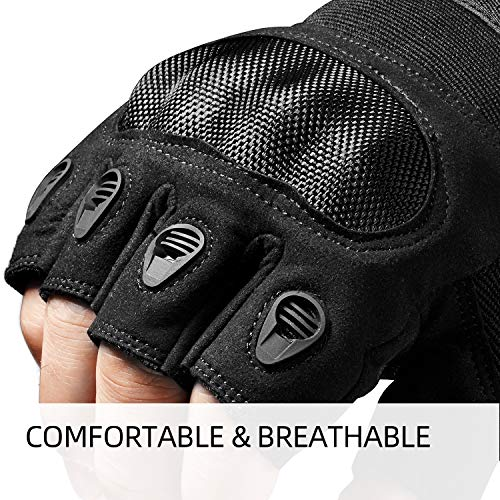 FREETOO Airsoft Glove 4 FREETOO Tactical Gloves for Men Military Airsoft Gloves for Climbing Hunting Hiking Cycling Shooting Rubber Outdoor Touchscreen Gloves (Black Fingerless)