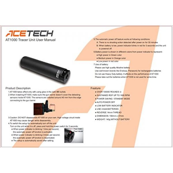 ACETECH Airsoft Barrel 6 ACETECH Airsoft Gun 14mm AT1000 Tactical Tracer Unit Glow in Dark
