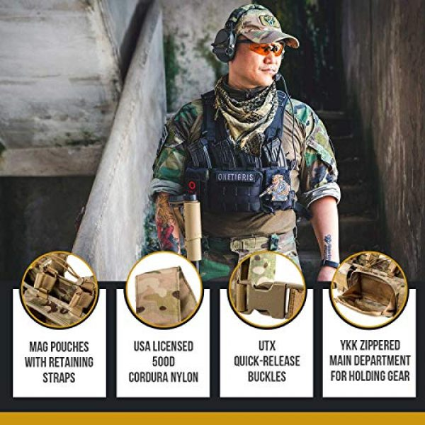OneTigris Airsoft Tactical Vest 4 OneTigris Tactical Chest Rig with 5.56/7.62 Rifle Mag Pouches Pistol Mag Pouches and X Harness for Airsoft Shooting Wargame Paintball
