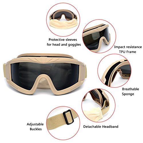 UV400 Protection Shooting Glasses for Men Women Motorcycle Riding Wargame Paintball