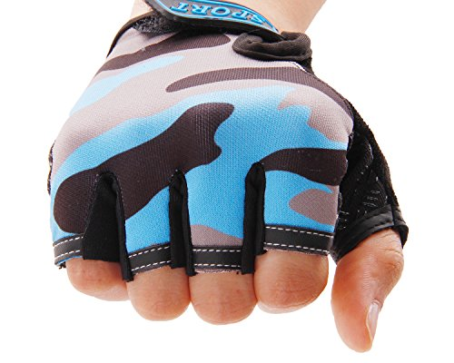 BXT Airsoft Glove 3 Children Cycling Fingerless Gloves Breathable Half Finger Non-Slip Shock-Absorbing Kids Bike Riding Gloves Outdoor Sports Gloves for Fishing Bicycle Roller Skating Hunting Climbing for Girls Boys