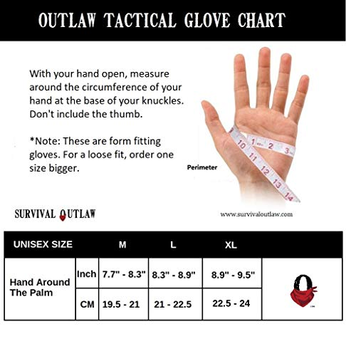 Survival Outlaw Airsoft Glove 3 Survival Outlaw - Black Tactical Shooting Gloves Impact Protection for Airsoft and Paintball Excellent Dexterity Grip for Men & Women. (M