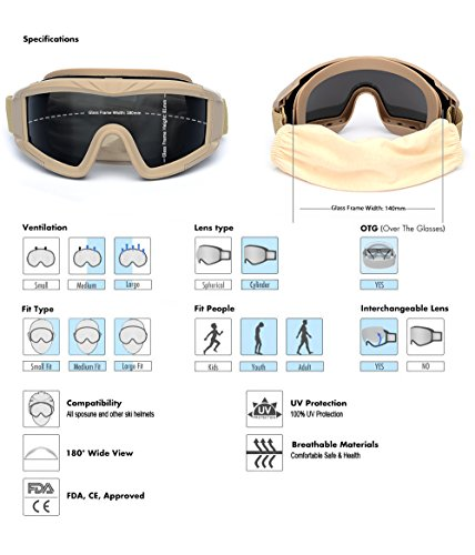 SPOSUNE Airsoft Goggle 3 Outdoor Sports Military Airsoft Tactical Goggles with 3 Interchangable Lens Impact resistance Hunting Eyewear