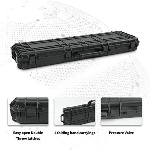44/48/53 Inch All Weather Water-Proof Safety Hard Gun Case with Foam with Wheels and Cuttable Foam
