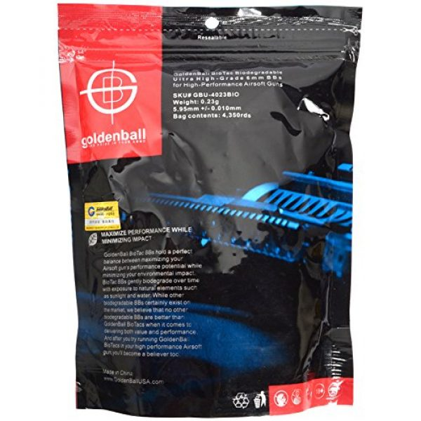 GoldenBall Airsoft BB 1 0.23g GoldenBall Biodegradable Seamless Airsoft BBs - 4350rd BAG