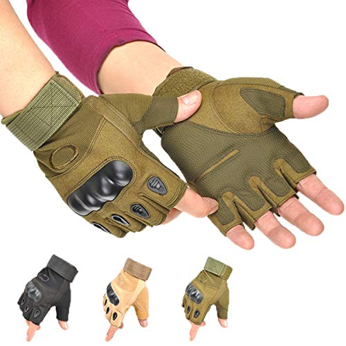 Jolies Airsoft Glove 4 Jolies Army Tactical Gloves Outdoor Full Finger and Half Finger Military Rubber Hard Knuckle Airsoft Paintball Gloves for Motorcycle Cycling Hunting Hiking Camping