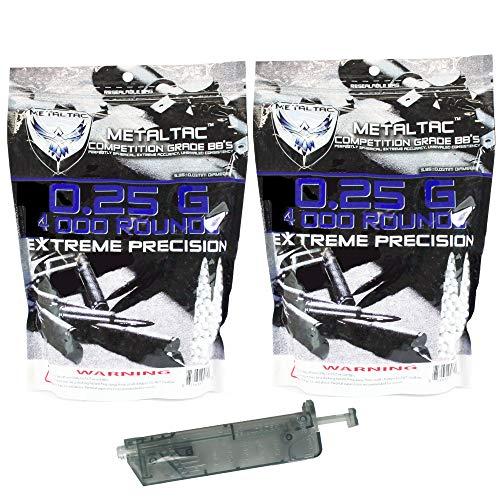 MetalTac Airsoft BB 1 MetalTac Airsoft BBS .25g 8000 Rounds Match Grade BB Pellet, 0.25 Gram 6mm for Airsoft Guns Ammo