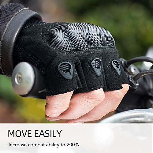 FREETOO Airsoft Glove 5 FREETOO Tactical Gloves for Men Military Airsoft Gloves for Climbing Hunting Hiking Cycling Shooting Rubber Outdoor Touchscreen Gloves (Black Fingerless)