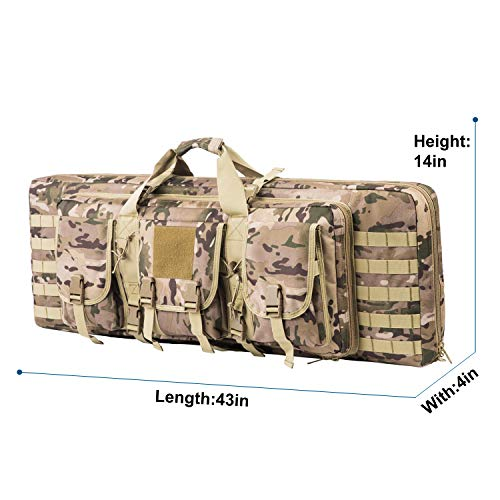 Fox Tactical Airsoft Gun Case 4 Fox Tactical 38 42 Inch Double Long Rifle Gun Case Bag Outdoor Tactical Carbine Cases Water Dust Resistant Fireproof for Hunting Shooting (Multicam
