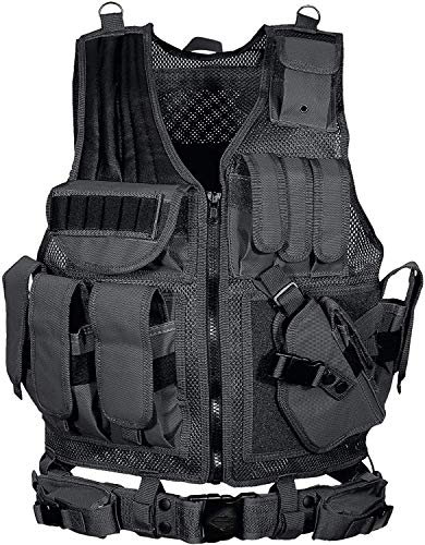 YoMont  1 YoMont Tactical Vest Outdoor Molle Vest Military for Man Women Youth Trainning Tactical Airsoft Combat Vest 600D Encryption Polyester-Military Vest-Adjustable Lightweight